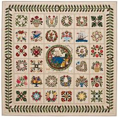 """""""Affections"""" by Elly Sienkiewicz.  Baltimore Album Quilt exhibit 