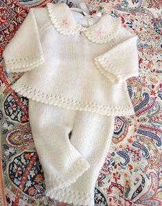 Pdf Baby Knitting Pattern Layette Pram S - Diy Crafts - maallure Baby Pullover, Baby Cardigan, Knit Baby Pants, Baby Jumper, Baby Knits, Baby Knitting Patterns, Baby Patterns, Pattern Baby, Christening Outfit