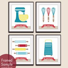 Cute Kitchen Quotes Pattern Kitchen Prep Utensils by pixiepixels, $26.85