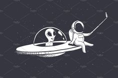 selfie of astronaut and alien by Dimonika on Outer Space Wallpaper, Mood Wallpaper, Laptop Wallpaper, Dark Wallpaper, Galaxy Wallpaper, Astronaut Drawing, Astronaut Wallpaper, Alien Aesthetic, Space Drawings