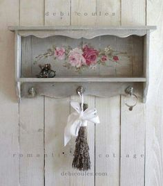 Custom Color and Decorative Vintage Style Roses Shelf Khowell diy furniture Shop Now - Original Hand painted vintage furniture and paintings featuring roses, french women, birds, and tutus by award winning Romantic Shabby Chic Artist Debi Chic Bathrooms, Shabby Chic Dresser, Shabby Chic Furniture, Shabby Style, Retro Home Decor, Chic Home Decor, Shabby Chic Decor, Shabby Chic Homes, Shabby Chic Room