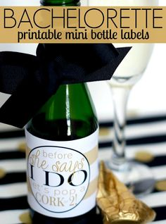Free printable bachelorette mini champagne label - perfect as a party favor