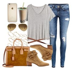 """""""Style #9185"""" by vany-alvarado ❤ liked on Polyvore featuring H&M, ASOS, Yves Saint Laurent and Ray-Ban"""