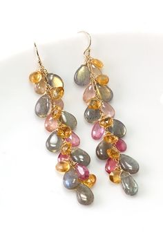 Long dangle Labradorite, Pink Sapphire and Citrine earrings in 14k gold filled. Fall Jewelry