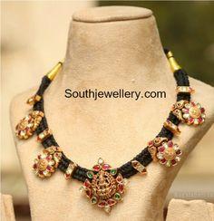 Black Dori Necklace with Lakshmi Pendant photo