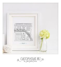 Custom House Sketch-Personalized Home Drawing-New Home Gift-Line Art-Minimalists-Hand Drawn Art-Black and White Home Sketch-Realtor Gift