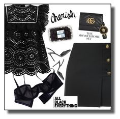 """""""All black"""" by anduu19 on Polyvore featuring Yves Saint Laurent, Zimmermann, Eres, Gucci, Alexander Wang and Versace"""