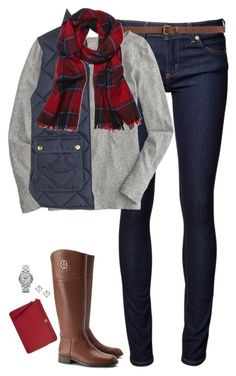 """""""Red, navy & gray"""" by steffiestaffie ❤ liked on Polyvore featuring Naked & Famous, Tory Burch, H&M, J.Crew, Brooks Brothers, Banana Republic and Marc by Marc Jacobs"""