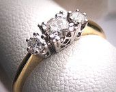 Items similar to 18k gold three stone ring diamond ring anniversary band diamond wedding band engagement ring stackable ring custom ring on Etsy, a global handmade and vintage marketplace.