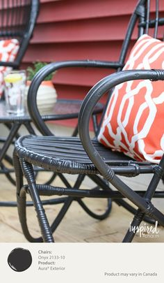 Black paint can instantly make old porch furniture look new again. Here, a coat of Benjamin Moore's Aura Exterior Paint in Onyx creates an expensive looking update to a vintage bamboo bistro set. [ad]