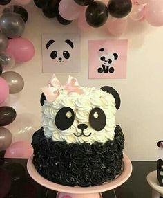 Vi no ig - Bolo Panda 🐼 Baby Cakes, Girl Cakes, Cupcake Cakes, Dog Cakes, Baking Cupcakes, Cake Baking, Panda Birthday Cake, Birthday Cake Girls, Birthday Favors