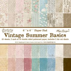 The Rubber Buggy  - Maja Designs 6 x 6 Paper Pad - Vintage Summer Basics, $17.99 (http://www.therubberbuggy.com/maja-designs-6-x-6-paper-pad-vintage-summer-basics/)