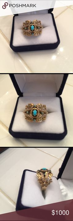 1920s 14k gold seed pearl turquoise ring Authentic vintage 1920s seed pearl and turquoise ring very solid and beautifully made took it to the jeweler he said it is circa 1920s it's nice and flush on the hand super comfortable this is a stunningly Beautiful handmade piece absolutely flawless vintage Jewelry Rings