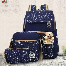 Backpack+Handbag+Purse Set Women's Canvas Shoulder School Bag Travel Rucksack