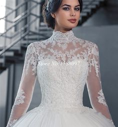 Really nice turtleneck-y cut and beautiful lace sleeves and bodice  long sleeve lace tulle ball gown gray - Google Search