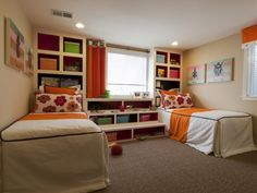 Very nicely designed bedroom for 2 kids with side-by-side single beds, built-in shelves and great color design (picture)
