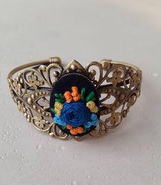 Cuff Bracelet. Open-work bracelet with embroidery. Handmade. Flower Bracelet by RENKAhandmade on Etsy