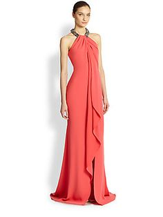 Carmen+Marc+Valvo Toga+Necklace+Gown