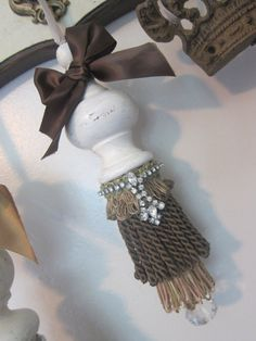 Repurposed Vintage Wood Finial and Vintage Rhinestone Necklace Tassel, Home Decor, Wall Decor, Christmas Gift, Birthday Gift, Romantic