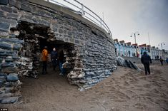 Locals in Aberystwyth discover a new path to the sea after the storm tore a huge hole in the sea wall Aberystwyth, Devon And Cornwall, After The Storm, Sea Art, Cymru, Storms, Paths, Britain