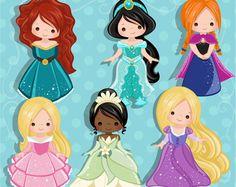 Princess Clipart - principessa costumi con simpatici personaggi, royal grafica, illustrazione, invito di compleanno, festa grafica, ricamo