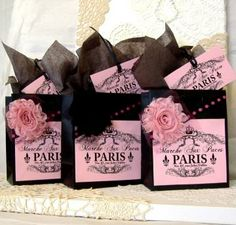Paris Flea Market Label Gift Bag Set, Paris Apartment Style with Fabric Flowers, & Matching Tags by Peppercorns for $7.50