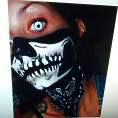 Skull bandana face paint- Halloween makeup tutorials www.Youtube.com/empressmakeup