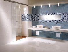 Ba�o con mosaico en azul