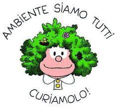 Mafalda ecológica,  dibujada en  Milán,  Italia en 1988