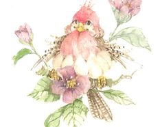 A 7 x 7 original watercolor of a bird and flowers by Carolyn Shores Wright. Birds of all types--serious, whimsical and humorous--have always been one of her favorite subjects. Bird Pictures, Pictures To Paint, Illustrations, Illustration Art, Funny Birds, Bird Drawings, Watercolor Bird, Whimsical Art, Bird Prints