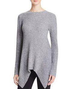 Aqua Cashmere Ribbed Sharkbite Cashmere Sweater