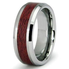 Made of Tungsten and wood inlay. This is the one my husband has and gets tons of compliments on it! Cheap Wedding Rings, Unique Wedding Bands, Wedding Ring Bands, Wedding Ideas, Wedding Stuff, Wedding Inspiration, Wood Inlay Wedding Band, Wooden Wedding Bands, Engagement Rings For Men