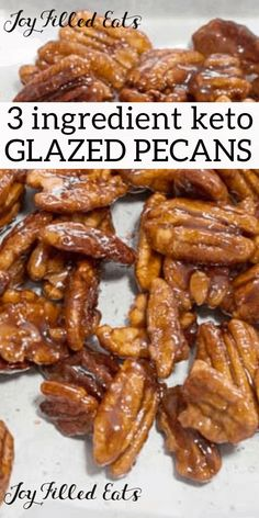 Keto 3 Ingredient Stovetop Glazed Pecans - Low Carb Sugar-Free THM S - I love sweet coated nuts. These Glazed Pecans are simple to make & delicious to munch on. They add flavor & texture to salads ice cream desserts & more. Dessert Sans Gluten, Bon Dessert, Dessert Recipes, Low Carb Desserts, Low Carb Recipes, Cooking Recipes, Simple Keto Desserts, Sugar Free Recipes, Gluten Free Recipes
