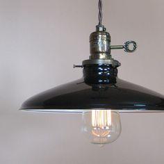 black enamel barn light