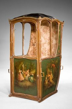 Mid Century French Sedan Chair, the panels finely painted with romantic scenes in the manner of Boucher. The overall frame of finely chiselled gilt bronze edging and mounts, now oxidised via Chris Radford. Antique Chairs, Antique Furniture, Windsor House, Candle Snuffer, Romantic Scenes, Affordable Furniture, Modern Chairs, House Painting, Decorative Objects