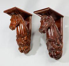 "Pair of mahogany horse head brackets Ca1900 - 10 Europe. 14.25""H x 5.75""W x 8.5""D."