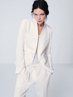 white trouser suit