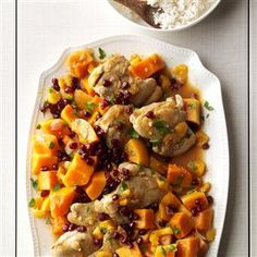 Chicken with Sugar Pumpkins & Apricots Recipe -When we have family gatherings, we give the slow cooker kitchen duty. This yummy chicken with pumpkin and apricots has the warm flavors of Morocco. —Nancy Heishman, Las Vegas, Nevada