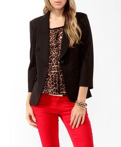 Classic Shawl Collar Blazer, with leopard print blouse & red skinnies Outfits Otoño, Office Outfits, Stylish Outfits, Fashion Outfits, Womens Fashion, Cute Blazers, Blazers For Women, Animal Print Blouse, Teacher Outfits