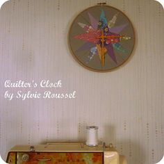 Quilter's Clock ~ great idea! I'm going to use a Dresden Plate design on mine. <3 (one of my favorites) You could also make a matching clock for a quilt you've already made!