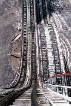 "Looking down...riding ""Colossus"" at Six Flags Magic Mountain in Valencia, California, by David Morgan-Mar, via Flickr"