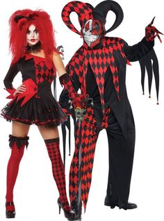 Red Jester Couples Costumes: Jesterina & Krazed Jester Costume - Party City