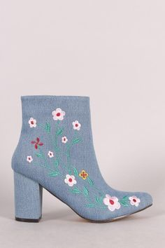Denim Embroidered Floral Vines Chunky Heeled Booties Floral Fashion 182aba7e3819e