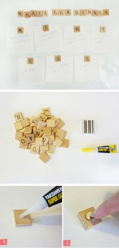have an old scrabble game with missing pieces lying around? turn them into magnets and write cute messages on your refrigerator! :D