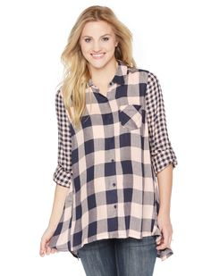 Navy and peach plaid is the perfect combo for Spring | Convertible sleeve button front maternity top by Motherhood Maternity