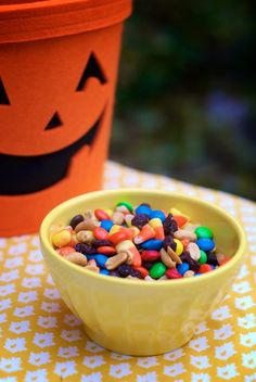 candy corn mix:      M&M's, candy corn, peanuts, and raisins!  That simple! Yummy!