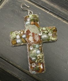 Chunky Cross Pendant with Turquoise and Rhinestones $16.95