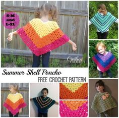 FREE crochet pattern Summer Shell Poncho in Children's sizes S-M and L-XL #cre8tioncrochet