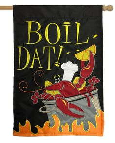 Boil Dat Crawfish Double Applique House Flag