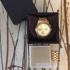 Michael Kors Watch MK WOMEN'S RUNWAY GOLD CHRONOGRAPH WATCH, needs battery/wear on band,shown in pics. Comes with box and extra links. Michael Kors Accessories Watches